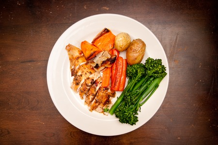 free range: organic free range chicken roasted with vegetables and gravy