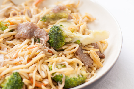 flavorsome: bchow mein with beef sliced and vegetables, or chow mien Stock Photo