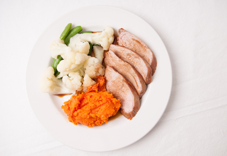 tenderloin: mashed sweet potato  with pork tenderloin and  sauce