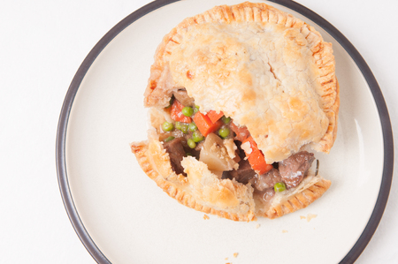 meat pie: savory beef meat pie with pastry topping