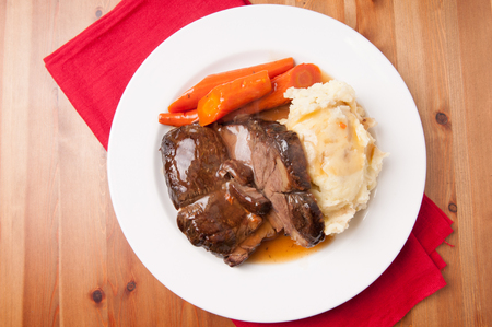 pure de papa: delicious braised beef roast with creamy mashed potatoes and roasted carrots and rice gravy