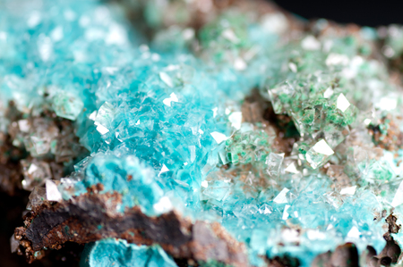 calcite: vibrant blue rosasite and calcite crystal mineral sample on granite