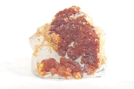 gemological: vibrant colorful orange orpiment crystal mineral sample