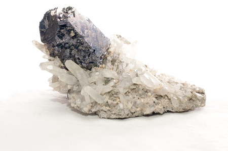 sulphide: galena dark metal and crystal mileral sample with quartz and granite
