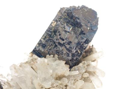 plumbum: galena dark metal and crystal mileral sample with quartz and granite