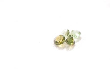 rubellite: tourmaline cut gemstone crystals on a white background Stock Photo