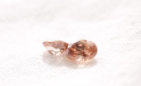 zircon: zircon cut jewel crystals on a white background Stock Photo