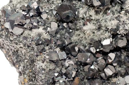 plumbum: galena metallic ore mineral sample, a rare earth mineral