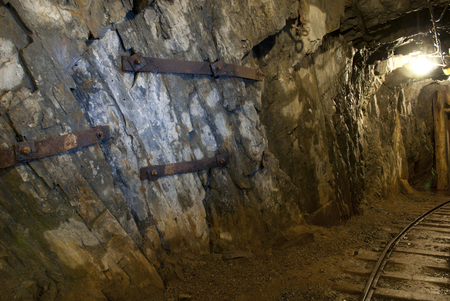 anthracite coal: an underground tunnel in a copper mine