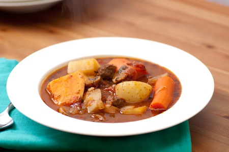 hearty: tasty stew with lamb, sweet potato and carrots, hearty and healthy