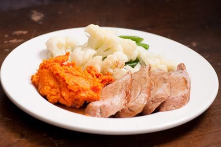 pork tenderloin: mashed sweet potato  with pork tenderloin and  sauce