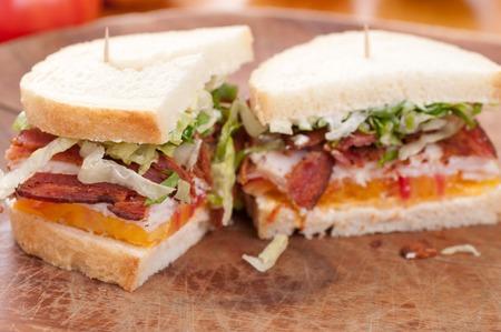 turkey bacon: turkey, bacon, cheese and heirloom tomato on fresh sourdough bread