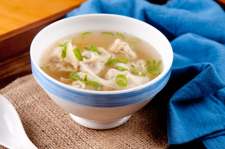 ton: hand made won tons stuffed with pork in a delicious broth