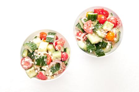 spanish onion: organic tomato and cucumber greek salad with feta and spanish onion