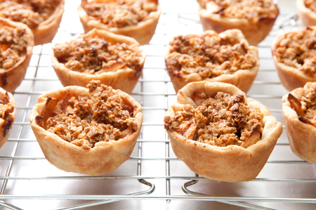 apple tart: home made apple tart  with oatmeal crumble topping Stock Photo