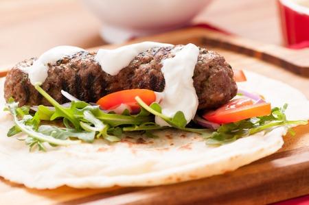 tzatziki: roasted lamb kofte with cool yogurt tzatziki and hummus