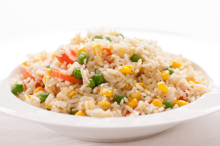 rice plate: home made vegan or vegetarian vegetable fried rice