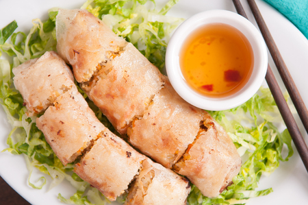 egg roll: egg roll or spring roll vietnamese style, with spicy pepper dip sauce Stock Photo