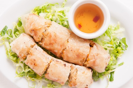 spring roll: egg roll or spring roll vietnamese style, with spicy pepper dip sauce Stock Photo