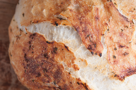 overnight: rosemary and garlic overnight bread hand made at home ina  dutch oven