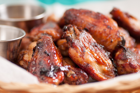hot sauce: hot and spicy chicken wings with dip and hot sauce