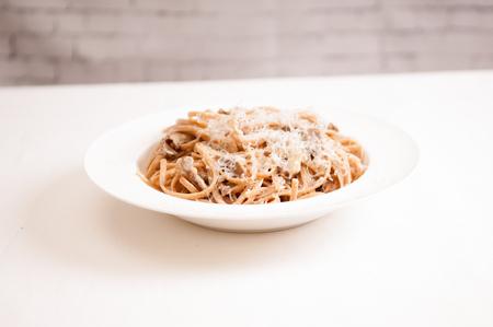 alfredo: diet ready whole wheat pasta with mushroom alfredo sauce