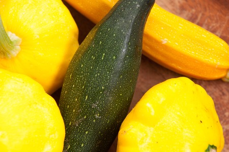 courgettes: organic farm fresh zucchini and pattypan courgettes on display
