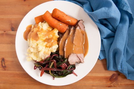 slow cooker: slow cooker pot roast with swiss chard mashed potatoes and gravy