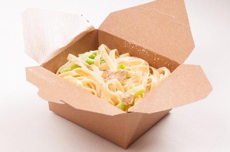primavera: take away container with chicken fetuccine alfredo primavera