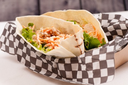 cole: chicken pita with apple and cole slaw, goof truck fare Stock Photo