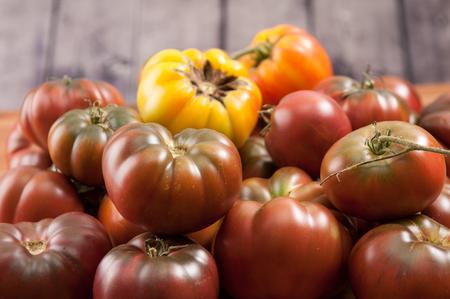 varieties: several varieties or home grown heirloom tomatoes Stock Photo