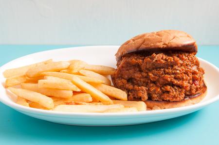 sloppy: sloppy joe sandwich with french fries
