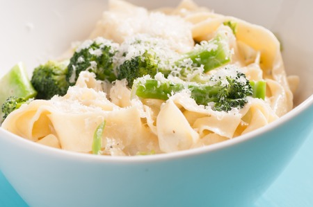 primavera: tagliatelle alfredo primavera, creamy sauce with vegetables and home made pasta Stock Photo