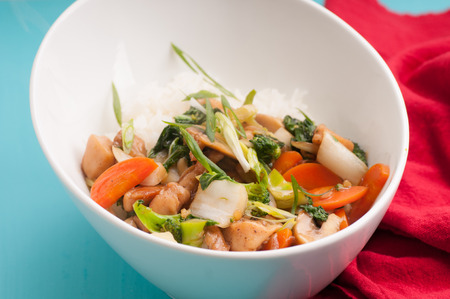 chicken velveted with fresh asian vegetables and white rice, soy sauce