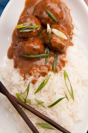 honey garlic meatballs with vegetables and white rice