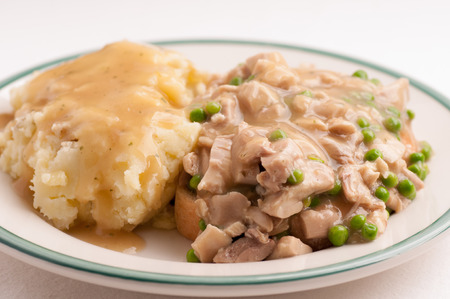 diner style hot chicken sandwich, open faced with mashed potatoes Stock Photo