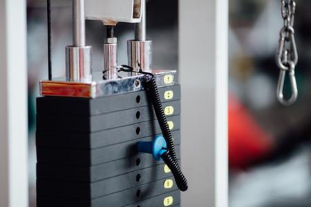 Stack of metal weights bodybuilding equipment Stock Photo