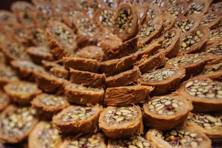 baklava: Turkish kadayif baklava sweet made with honey and pistachio nuts