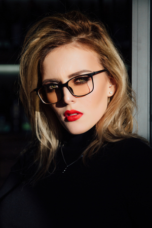 A portrait of a girl in glasses. Stock Photo
