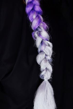 purple color braid samples. Braiding with synthetic purple color kanekalon pigtails.