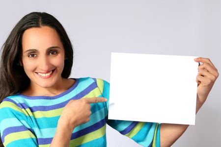 Woman holding a blank paper