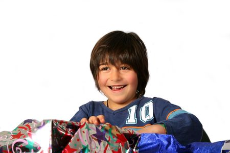 Boy with gifts photo