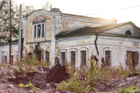 An outbuilding with a mezzanine in the Panskoye estate. View from the side of the burnt down main house. October 2020 - Panskoe, Kaluga region, Russia