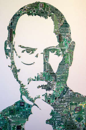 """GARBAGE MUSEUM """"MU-MU"""", RUSSIA - OCTOBER 2016: Exhibits of the museum of garbage. Steve Jobs from electronic boards"""