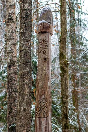 Makosh - Slavic pagan idol on the forest temple. Kaluzhskiy region