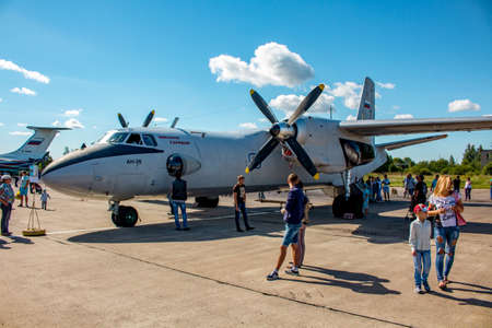 Ermolino, Russia - August 15, 2015: Open Day at the airbase in Ermolino. Military transport aircraft An-26