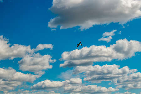 Ermolino, Russia - August 15, 2015: Open Day at the airbase in Ermolino. Aircraft model in the sky