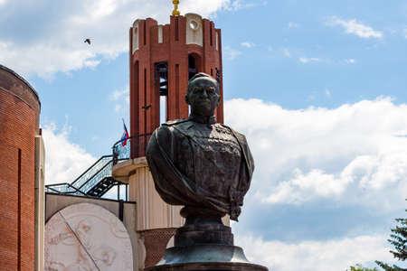 Zhukov, Russia - June 2020: Monument to Soviet Marshal GK Zhukov near the museum in the city of Zhukov (formerly Ugodsky Zavod)