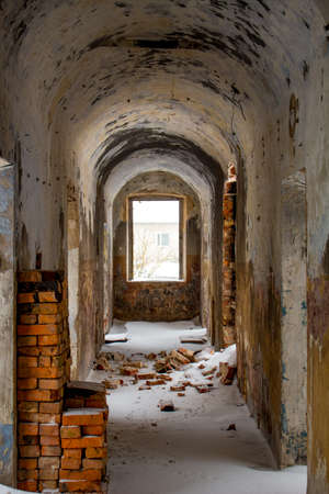 Empty corridors of an abandoned prison building of the late 19th century in Borovsk, Russia Stock Photo