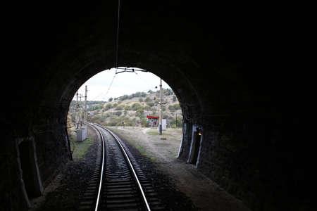 Old railway tunnel in the Crimea, inside Foto de archivo